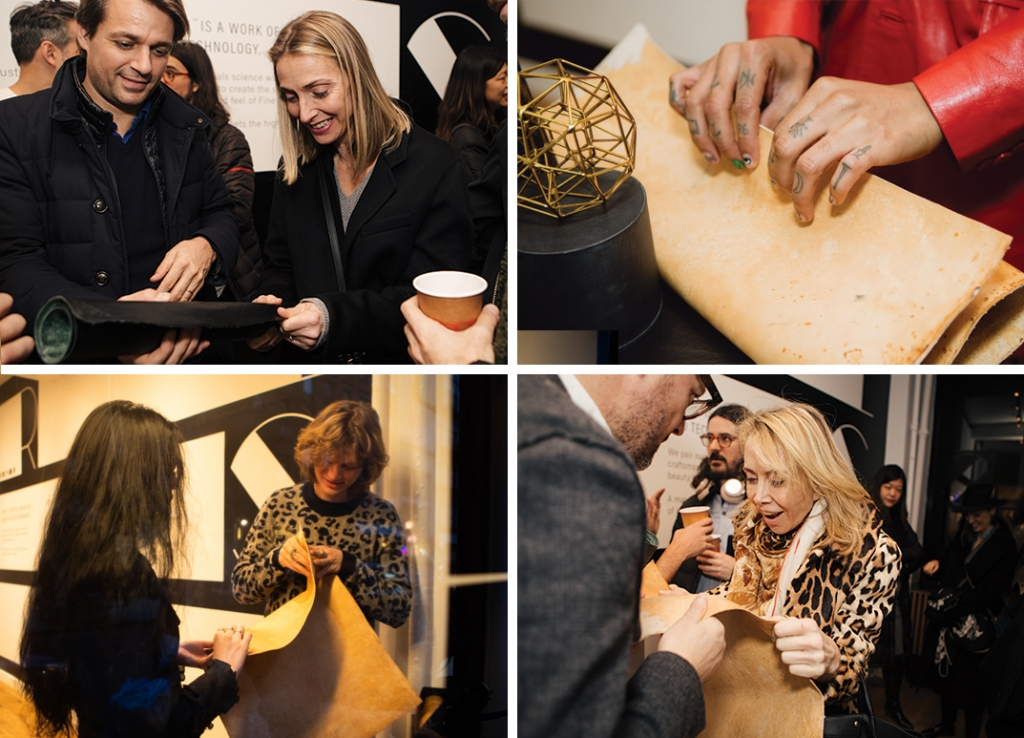 Visitors touch Reishi Fine Mycelium for the first time at our New York Showroom during Fashion Week.